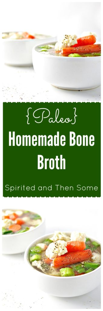 Paleo Homemade Bone Broth is easy to throw together and perfect for countless recipes! | spiritedandthensome.com
