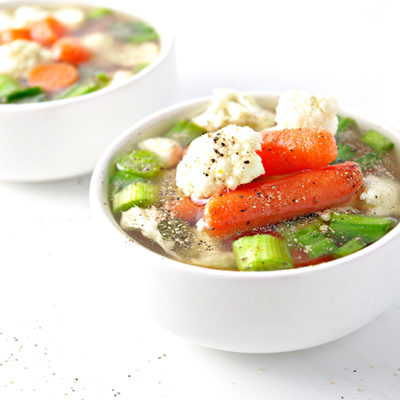 Vegetables in homemade chicken broth | via spiritedandthensome.com
