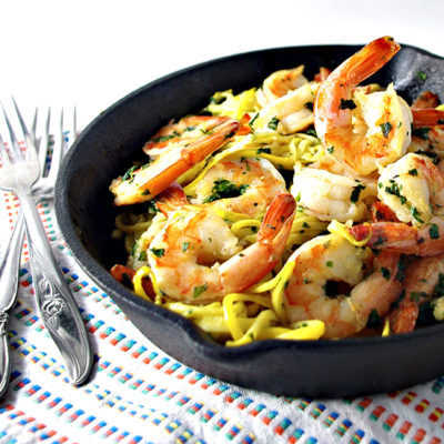 Shrimp Scampi with Fresh Cilantro and Veggie Noodles