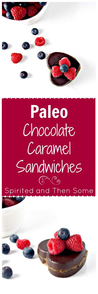 Paleo Chocolate Caramel Sandwiches are super indulgent and surprisingly healthy, too! | spiritedandthensome.com