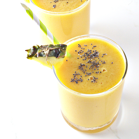 Pineapple Mango Smoothie is gluten-free, dairy-free, and deliciously sweet! | spiritedandthensome.com