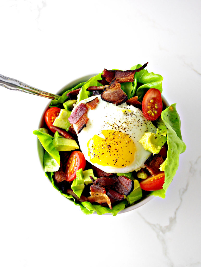 Eat Bacon, Lettuce, and Tomato Salad with eggs and avocado for breakfast, lunch, or dinner! | spiritedandthensome.com