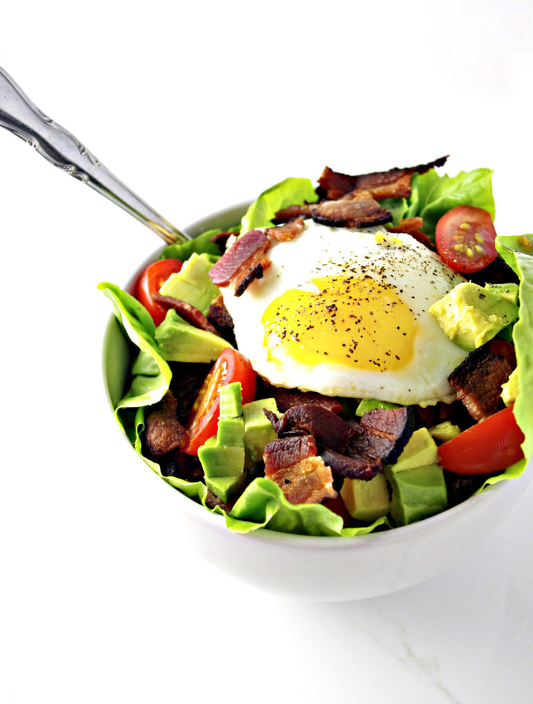 Bacon, Lettuce, and Tomato Salad is scrumptious with egg and avocado toppings! | spiritedandthensome.com