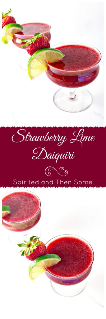 Strawberry Lime Daiquiri is ready in minutes with vegan and paleo options! | spiritedandthensome.com
