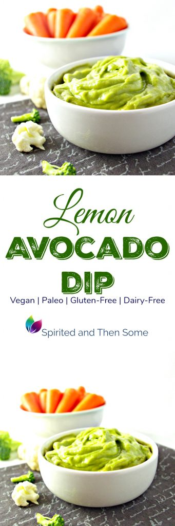Lemon Avocado Dip is a delicious vegan and paleo appetizer, and one of the most frequently made recipes in our house! Vegan, paleo, dairy-free, gluten-free, soy-free, and grain-free! | spiritedandthensome.com