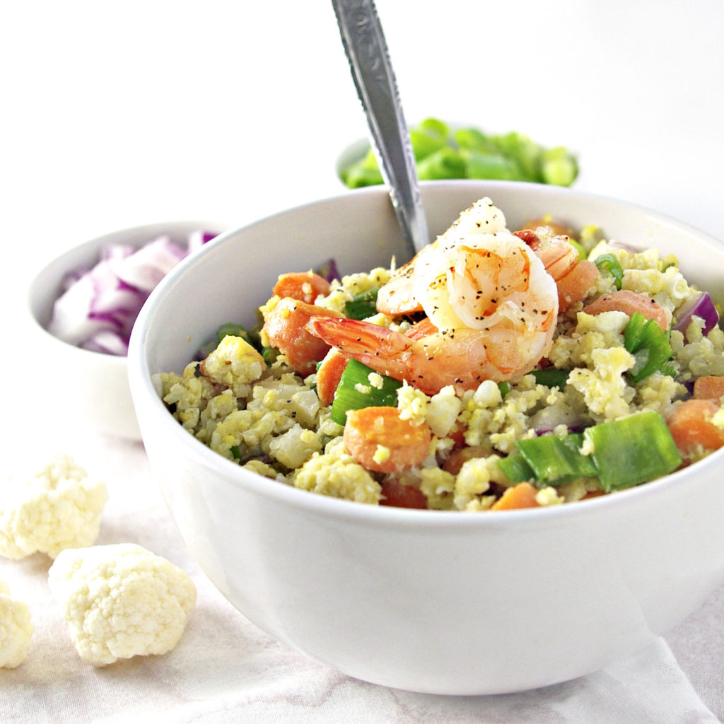 Grain-Free Cauliflower Stir Fry is ready in 30 minutes or less! | via spiritedandthensome.com | #glutenfree #soyfree #grainfree #recipe #cauliflower #healthy