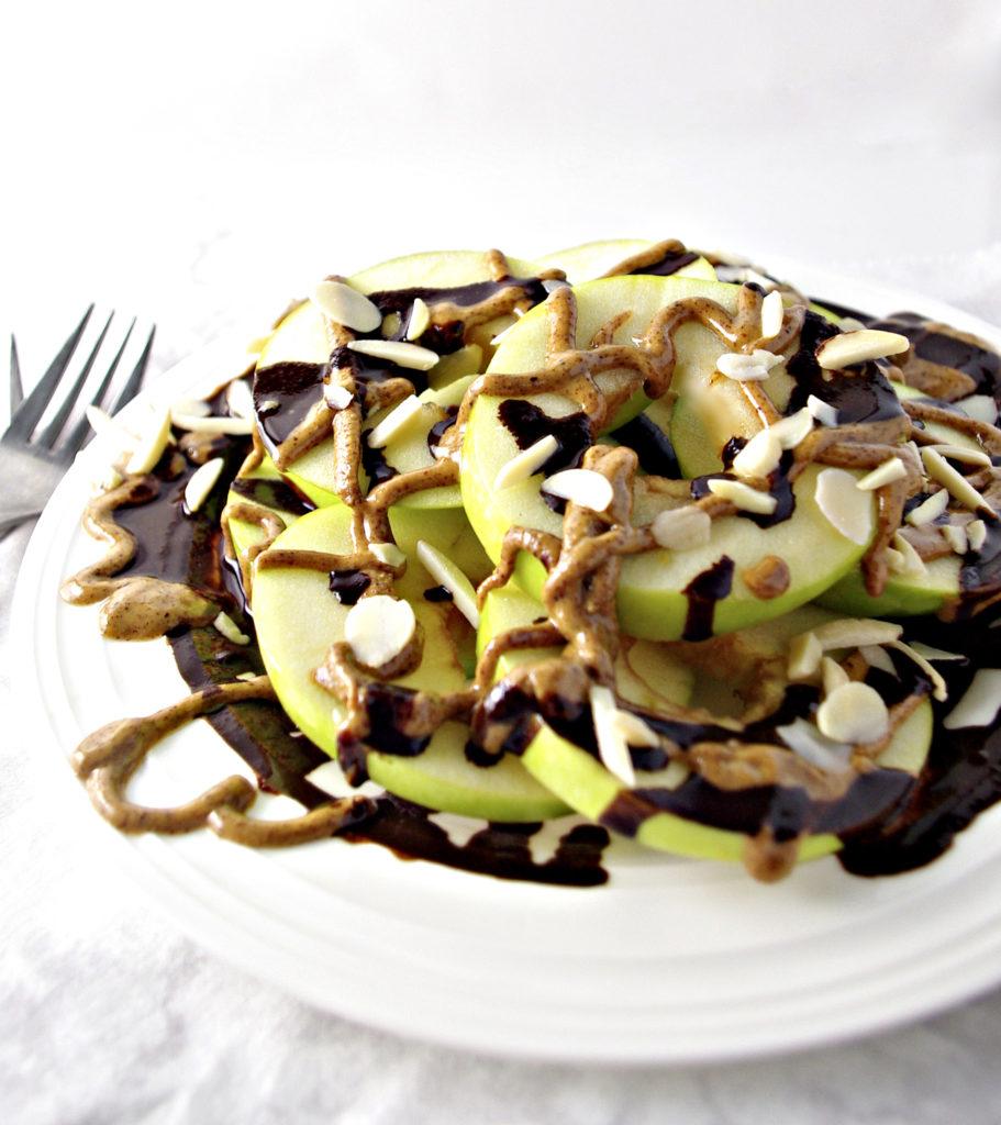 Green Apple Breakfast Nachos with Chocolate and Almond Butter | via spiritedandthensome.com | #vegan #breakfast #glutenfree #soyfree #dairyfree #grainfree #chocolate #almond #apple #recipe