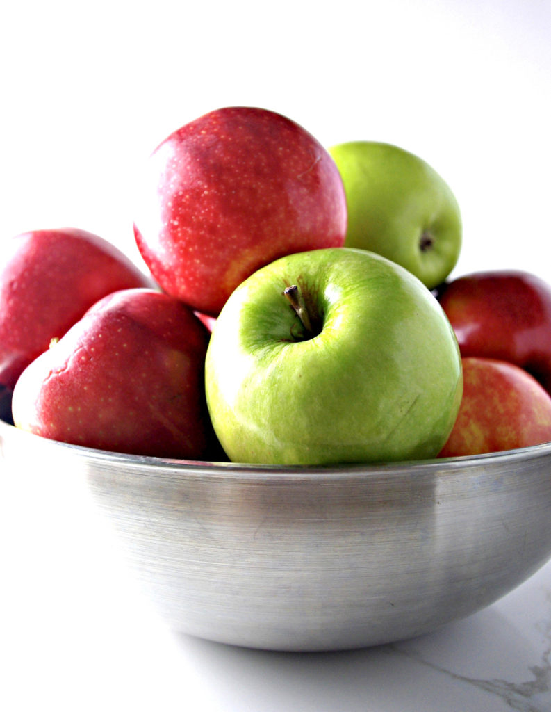 Gala and Granny Smith Apples in stainless steel bowl for Homemade Apple Cider! | spiritedandthensome.com
