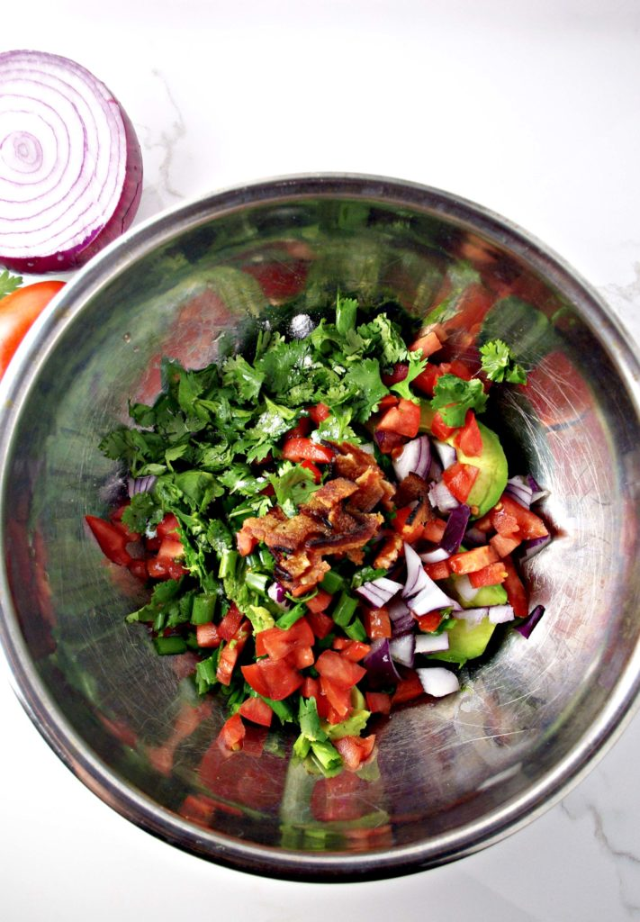 Bacon Guacamole ingredients include avocados (I like Hass), cilantro, and roma tomatoes | spiritedandthensome.com