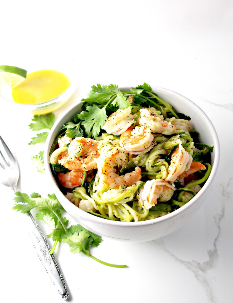 Cilantro Lime Shrimp Zoodle Bowl is a delicious, healthy guilty pleasure! Paleo, too! | spiritedandthensome.com
