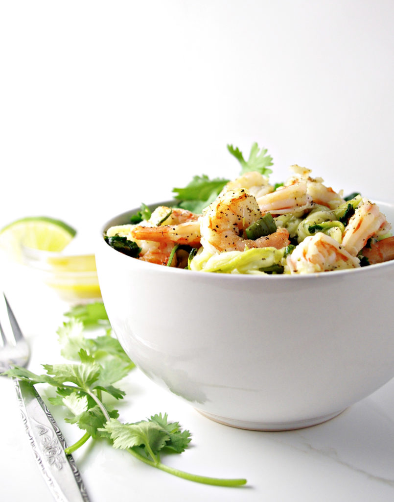 Cilantro Lime Shrimp Zoodle Bowl is perfect for a night in! | spiritedandthensome.com