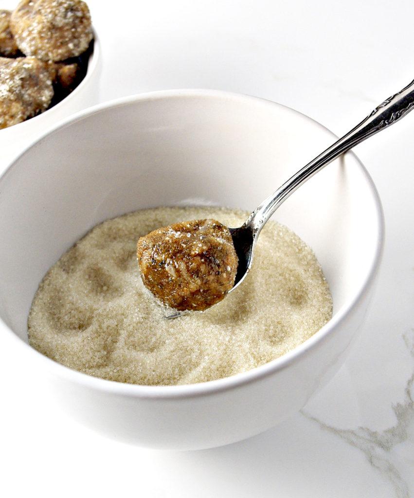 Dip No-Bake Almond Butter Bites in Raw Sugar or Shredded Coconut | spiritedandthensome.com