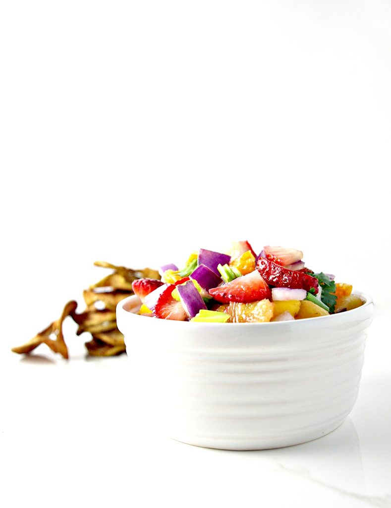 Fruit Salsa with Strawberries, Mangos, and Cilantro! It's a deliciously paleo recipe! | spiritedandthensome.com