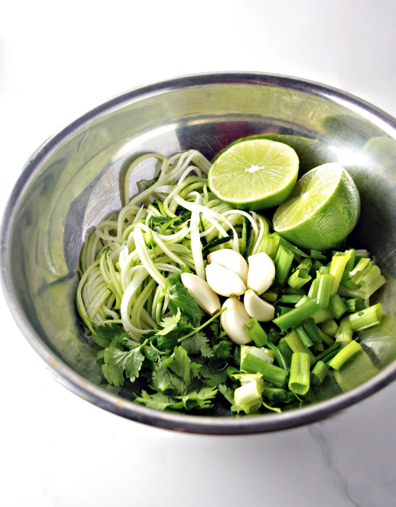 Cilantro Lime Shrimp Zoodle Bowl ingredients! | spiritedandthensome.com