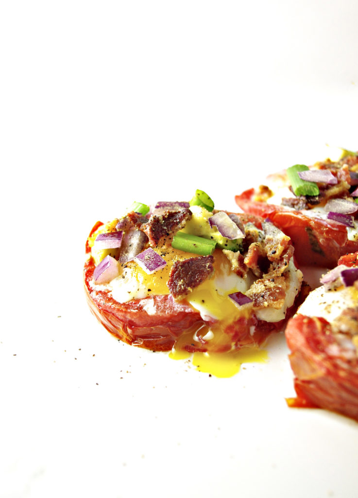 Baked Tomato Cup with Bacon and Eggs is the perfect balance of juicy, crunchy, and delightfully runny! | spiritedandthensome.com