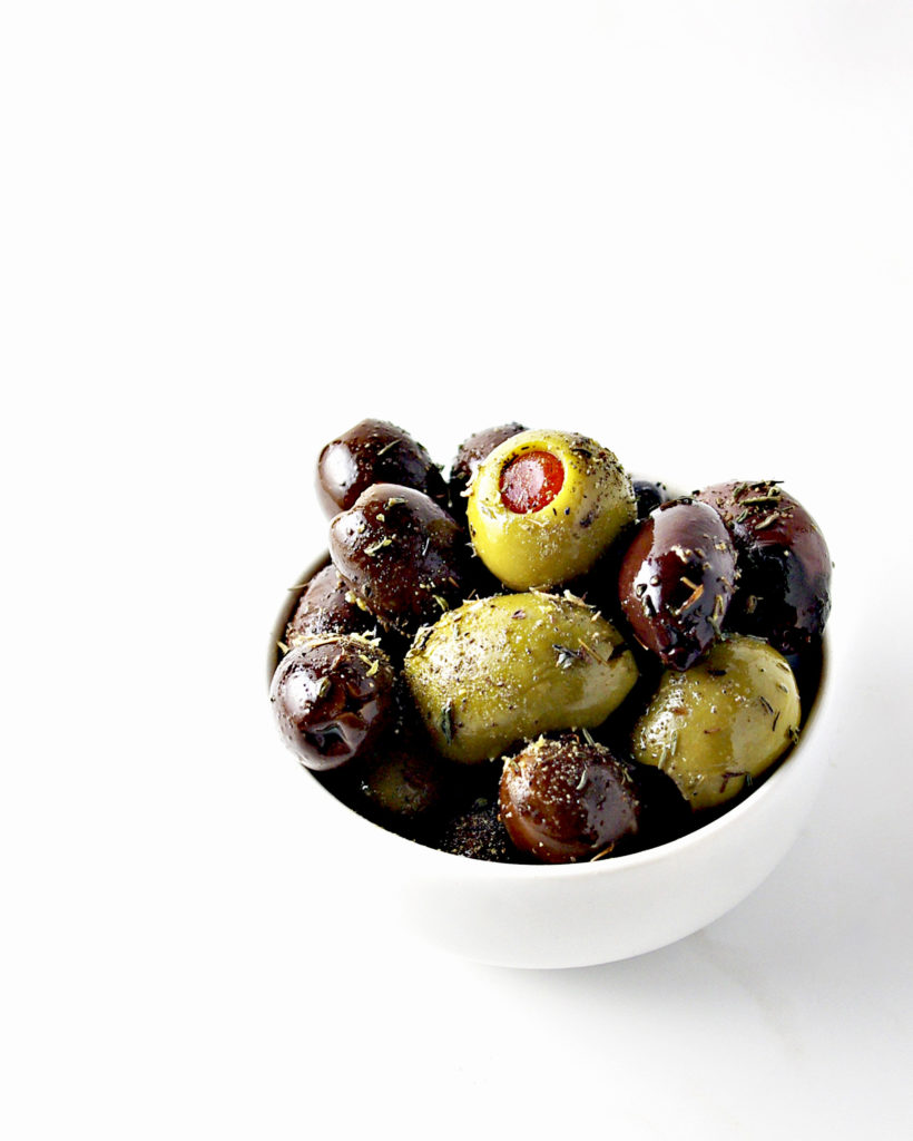 Dish of seasoned olives | via spiritedandthensome.com