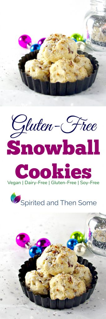 These melt-in-your-mouth, buttery Gluten-Free Snowball Cookies are also vegan, dairy-free, and soy-free! | spiritedandthensome.com