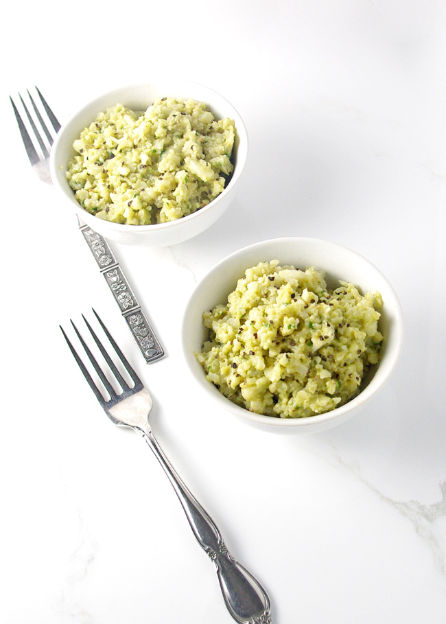 Creamy Avocado Cauliflower Rice is a delectable dairy-free, paleo recipe! | spiritedandthensome.com