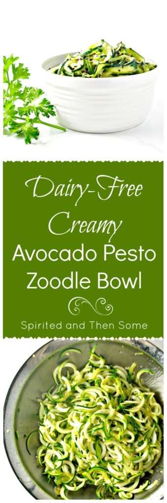 Dairy-Free Creamy Avocado Pesto Zoodle Bowl with garlic is a delicious paleo dinner that is an absolute FAVE in our house! | spiritedandthensome.com