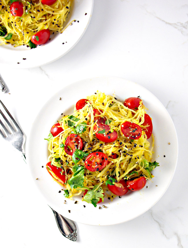 Paleo Spaghetti Squash Noodles are a healthy, DELICIOUS meal! Our go-to fave! | spiritedandthensome.com