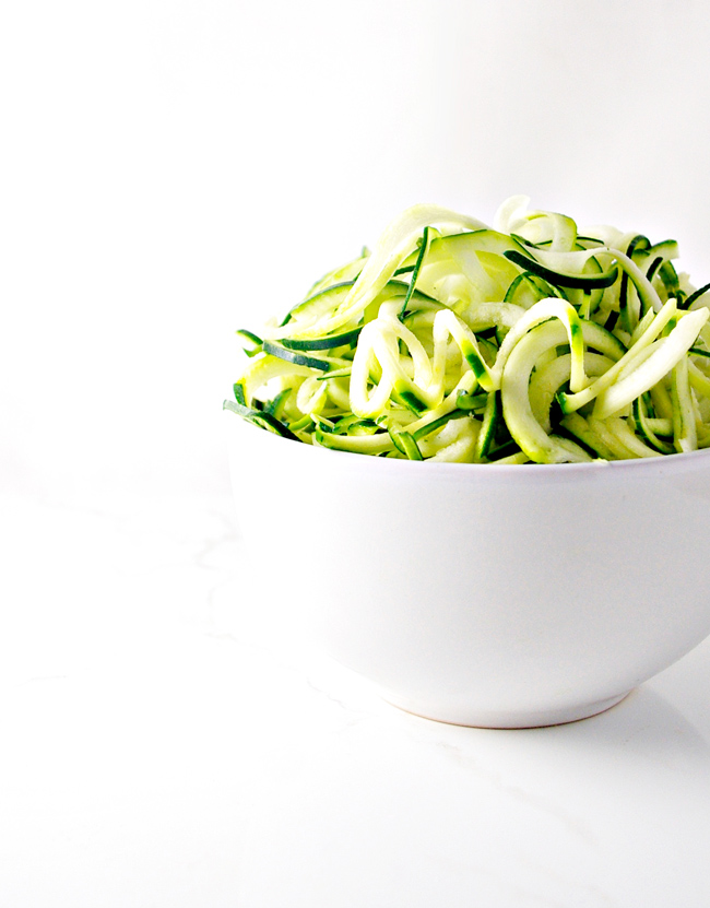 Dairy-Free Avocado Pesto with Zoodles - crisp, fresh, and delicious, this recipe is an absolute fave in our house!
