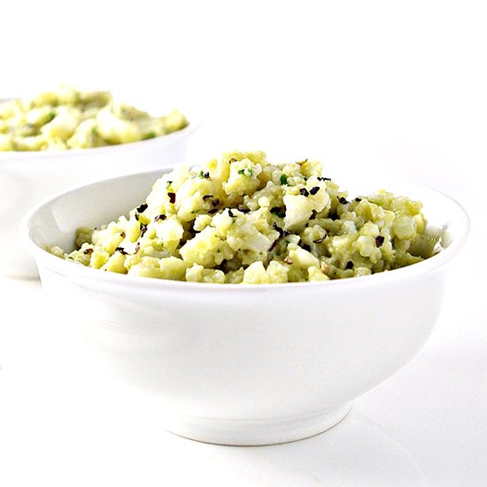 Dairy-Free Creamy Avocado Cauliflower Rice has a hint of lime and herbs for a robust flavor! Vegan and paleo! | spiritedandthensome.com