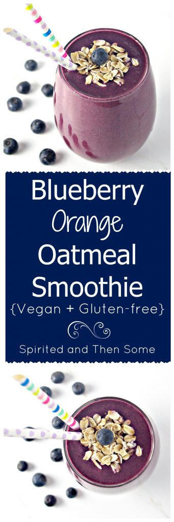 Blueberry Orange Oatmeal Smoothie contains just 4 ingredients! Vegan AND gluten-free, too! | spiritedandthensome.com