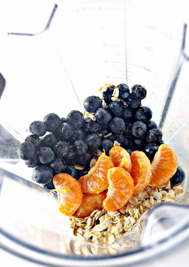 Blueberry Orange Oatmeal Smoothie ingredients are gluten-free and dairy-free! | spiritedandthensome.com