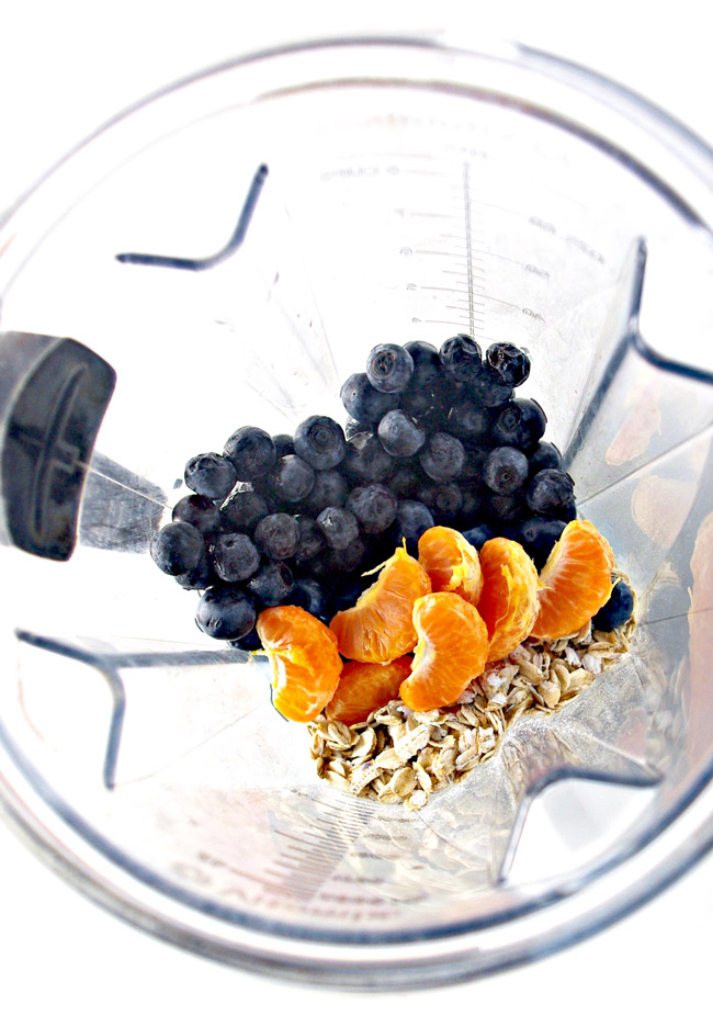Blueberry Orange Oatmeal Smoothie is a delicious vegan breakfast! | spiritedandthensome.com