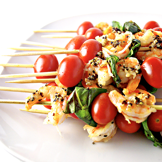 Sautéed Shrimp Appetizer Skewers are a delicious paleo party treat! | spiritedandthensome.com