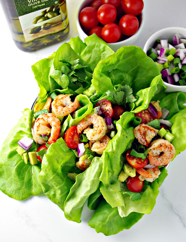 Loaded Shrimp Tacos with Butterhead Lettuce Shells is quite possibly one of my favorite recipes EVER! | spiritedandthensome.com