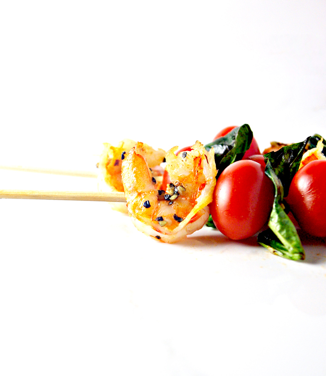 Sautéed Shrimp Appetizer Skewers are paleo and drizzled in a peppered garlic glaze! | spiritedandthensome.com