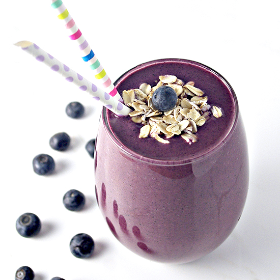 Blueberry Orange Oatmeal Smoothie is gluten-free, vegan, and contains just 4 ingredients!   spiritedandthensome.com