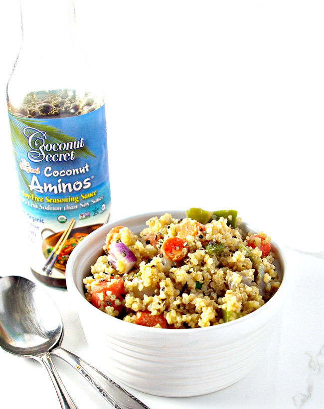 Coconut aminos seasoning sauce keeps Veggie Quinoa Stir-Fry completely soy-free and totally amazing! | spiritedandthensome.com