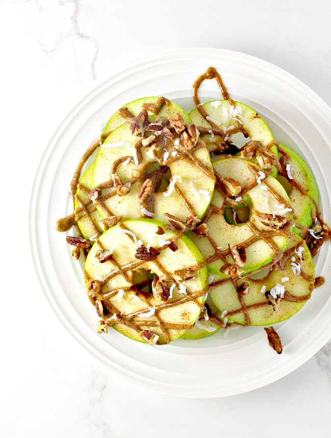 Loaded Apple Breakfast Nachos are perfect with pecans and shredded coconut! | spiritedandthensome.com
