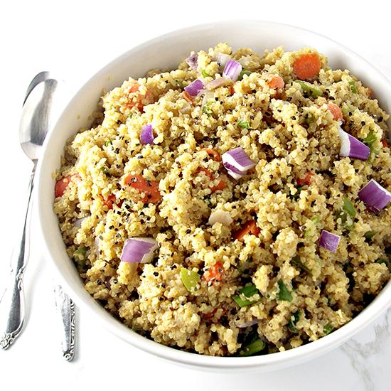 Soy-Free Veggie Quinoa Stir-Fry is gluten-free, too! | spiritedandthensome.com
