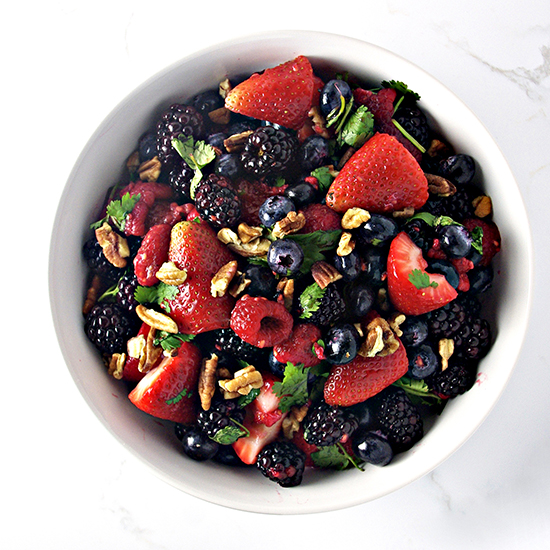 Fresh Mixed Berry Salad contains just 8 ingredients, is ready in 10 minutes, and comes with vegan and paleo variations! | spiritedandthensome.com