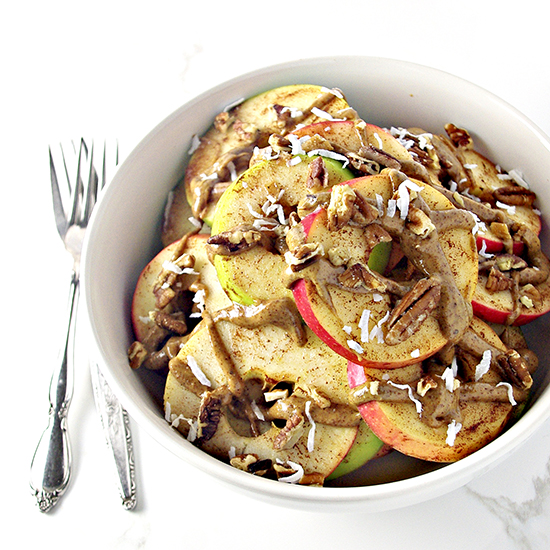 Loaded Apple Breakfast Nachos can be made with your favorite apples! Paleo + vegan! | spiritedandthensome.com