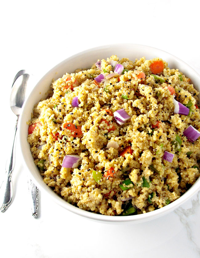 Veggie Quinoa Stir-Fry is gluten-free, and, thanks to coconut aminos, soy-free, too! | spiritedandthensome.com