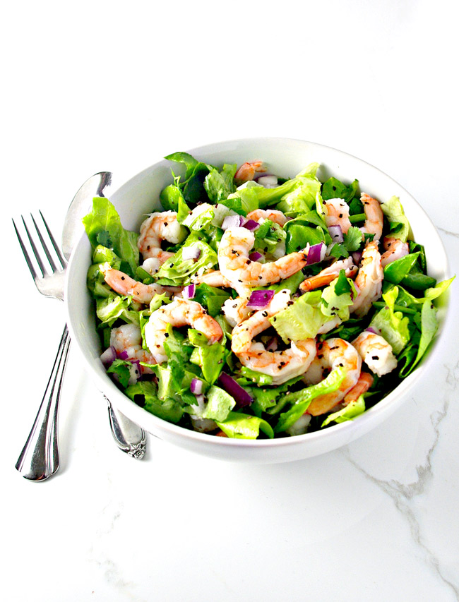 Fresh Shrimp Tossed Salad is best served chilled! | spiritedandthensome.com
