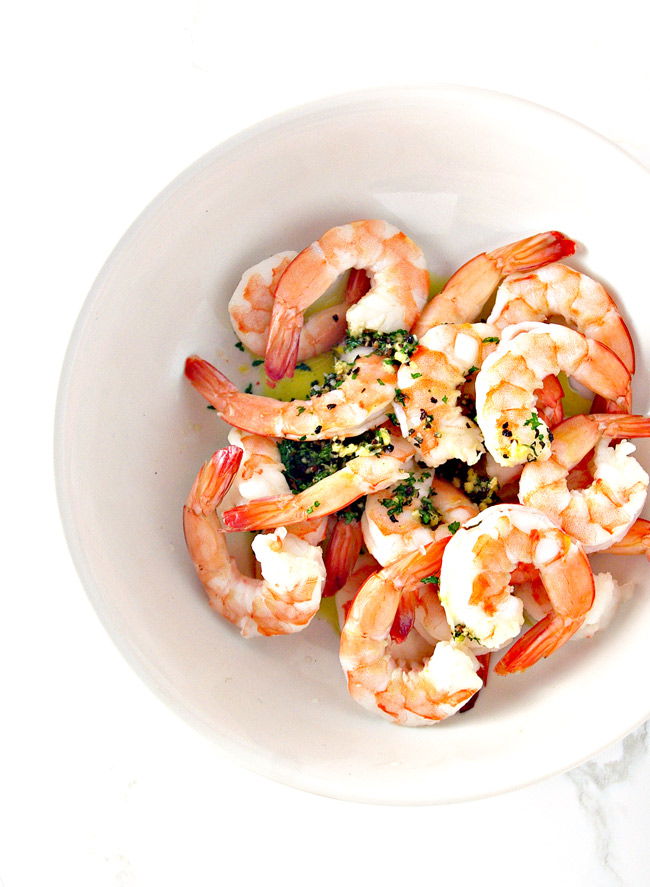 """Seasonings, garlic, and olive oil put the """"spicy"""" in Spicy Shrimp Seashell Tacos!   spiritedandthensome.com"""