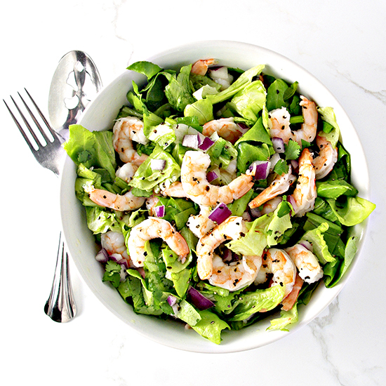 Fresh Shrimp Tossed Salad is a delicious addition to brunch or as a stand-alone meal! | spiritedandthensome.com