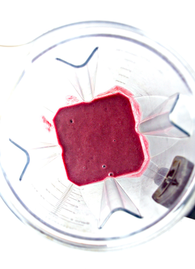 Blend Triple Berry Power Smoothie until ingredients, including chia seeds, are well blended! | spiritedandthensome.com
