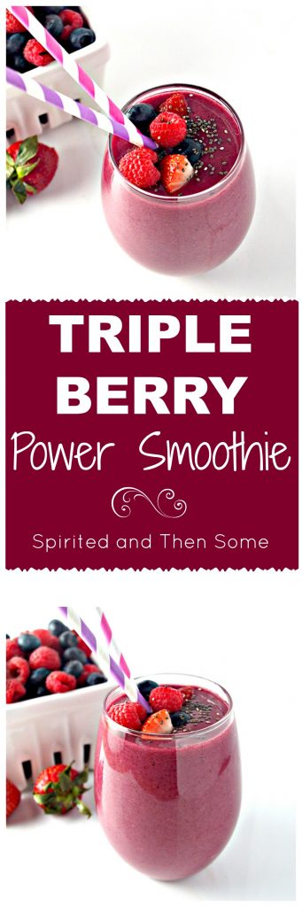 Triple Berry Power Smoothie is perfect for breakfast or on the go! Vegan and Paleo! | spiritedandthensome.com
