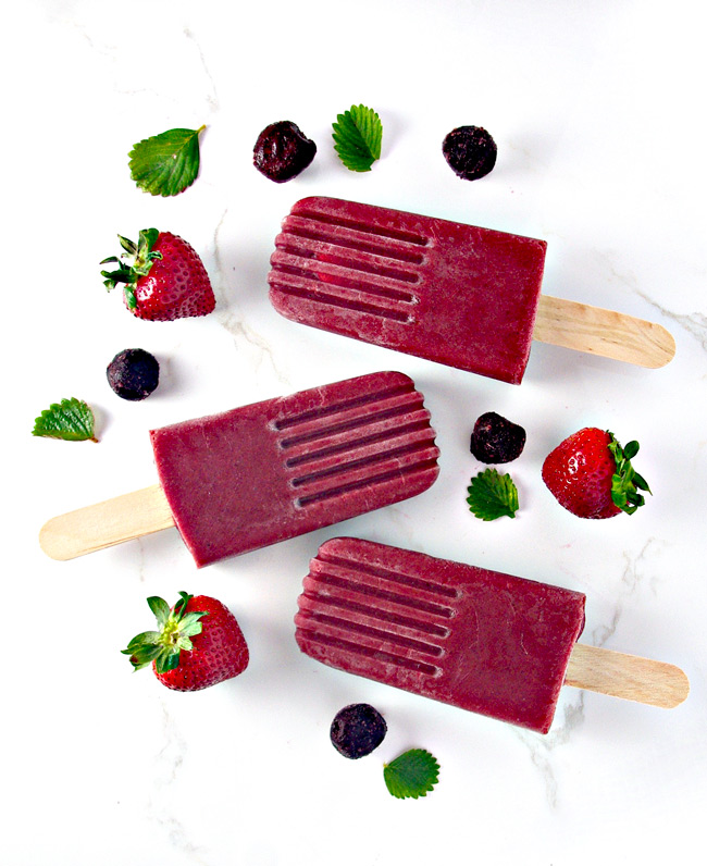 Summer-ready Vegan Strawberry Cherry Popsicles! | spiritedandthensome.com