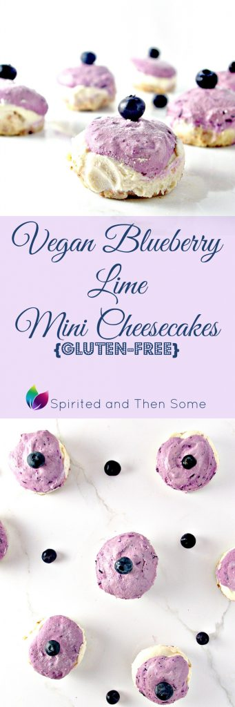 Grain-free, gluten-free Vegan Blueberry Lime Mini Cheesecakes come with a paleo version, too! | spiritedandthensome.com