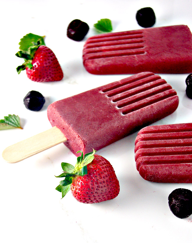 Thirst-quenching Vegan Strawberry Cherry Popsicles are perfect for summer! | spiritedandthensome.com