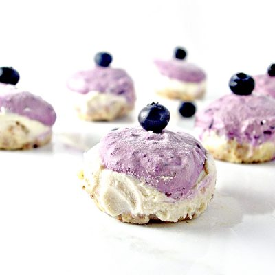 Vegan Blueberry Lime Mini Cheesecakes