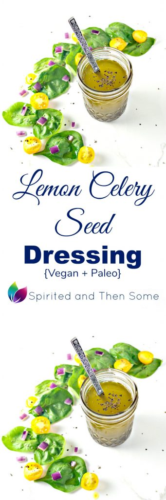7 ingredients, vegan, and paleo, Lemon Celery Seed Dressing is bursting with summery flavor! | spiritedandthensome.com