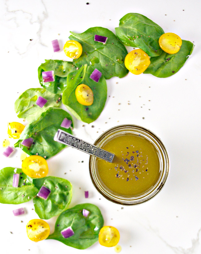 Refreshing Lemon Celery Seed Dressing is perfect with protein, vegetable, or even savory fruit salads! | spiritedandthensome.com